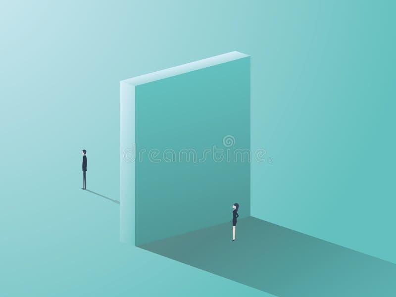 Begrepp för affärsgenusojämlikhet med affärsman- och affärskvinnasymbol och den enorma väggen dem emellan stock illustrationer