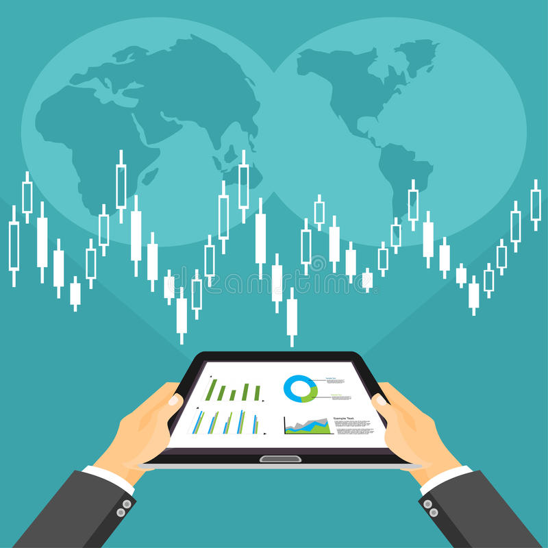 Begrepp för affärsinvestering Affärsmäklare som analyserar aktiemarknaden vektor illustrationer