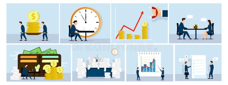Begrepp för affärsläge, affärsfolk på arbete Diagram som talar, gör pengar, skrivbordsarbete Fanillustration vektor vektor illustrationer