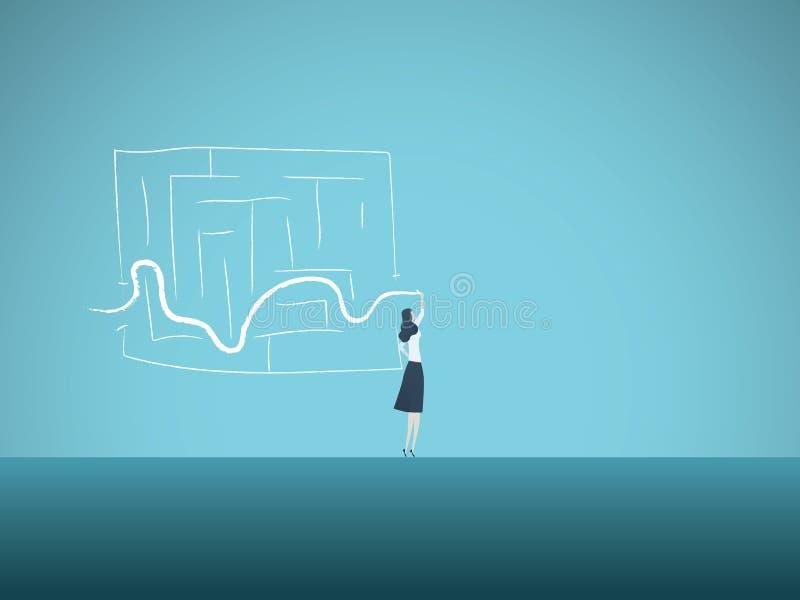 Begrepp för affärslösningsvektor med affärskvinnan som finner vägen till och med labyrint Symbol av snille, intelligent kvinna royaltyfri illustrationer
