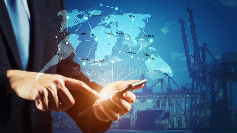 Begrepp för affärslogistik, gobal manöverenhet för teknologi för anslutning för global affär royaltyfria foton
