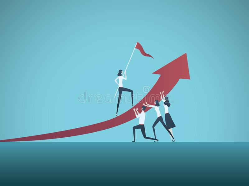 Begrepp för affärsmål, mål- eller målvektor Lag av affärsfolk som tillsammans arbetar Symbol av tillväxt, teamwork vektor illustrationer