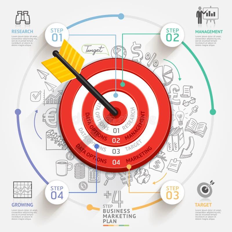 Begrepp för affärsmålmarknadsföring Mål med pilen och klotter royaltyfri illustrationer