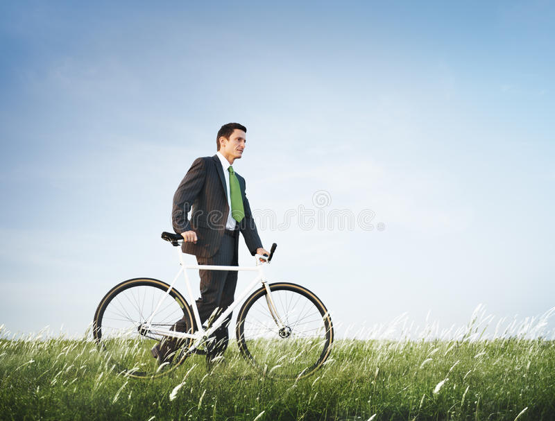 Begrepp för affärsmanBike Green Business avkoppling royaltyfria bilder
