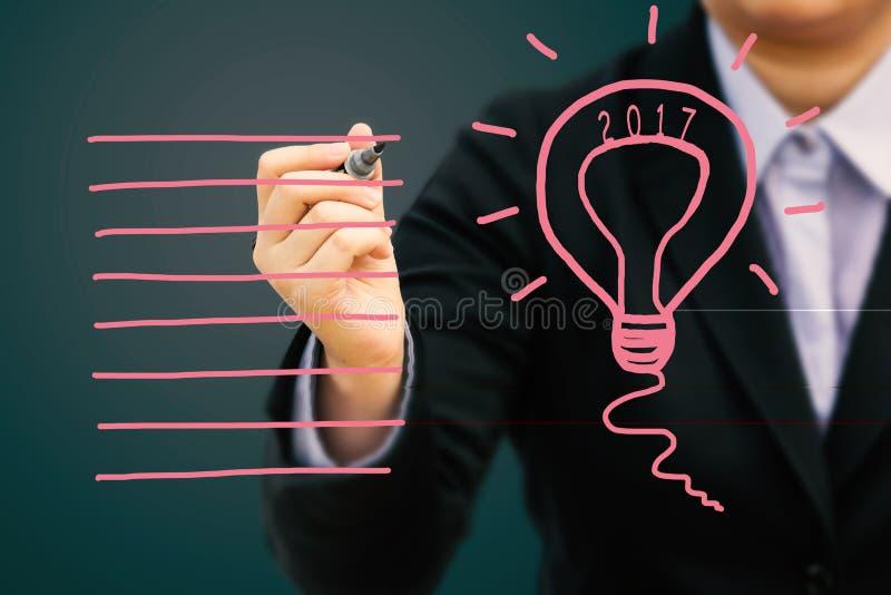 Begrepp 2017 för affärsmanhandstilidé royaltyfri bild