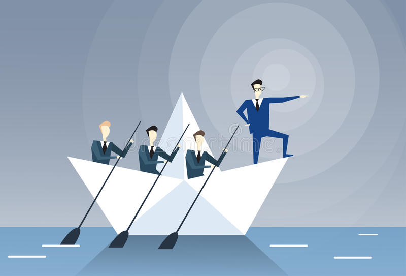 Begrepp för affärsmanLeading Business People Team Swim In Boat Teamwork ledarskap stock illustrationer