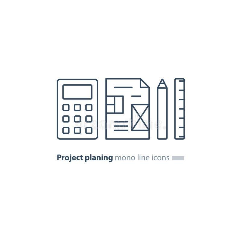 Begrepp för affärsplan, designritning, räknemaskinblyertspenna och linjalsymboler stock illustrationer