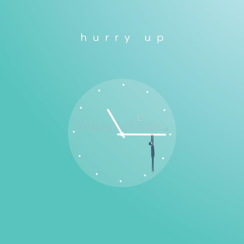 Begrepp för affärsstopptidvektor med affärsmannen som hänger på klockaframsida Symbol av tidledning, projektplanläggning royaltyfri illustrationer