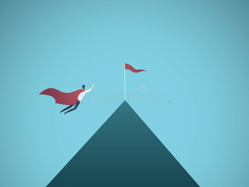 Begrepp för affärssuperherovektor Affärsmanflyg till överkanten av berget Symbol av ledarskap, styrka, makt royaltyfri illustrationer