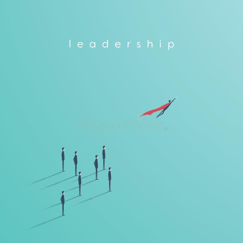 Begrepp för affärssuperherovektor med affärsmannen som flyger av Symbol av ledarskap, makt, vision vektor illustrationer