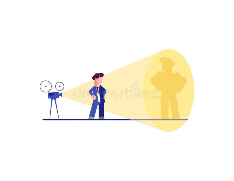 Begrepp för affärssuperherovektor med affärsmannen som projekterar superheroskugga på väggen Symbol av motivationen, ambition, vi stock illustrationer