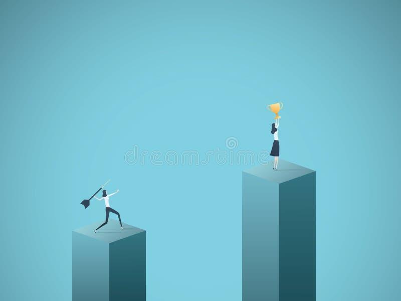 Begrepp för affärsvinnare- och förlorarevektor med affärskvinnan som firar framgång med en kopp och en annan kasta pil på stock illustrationer