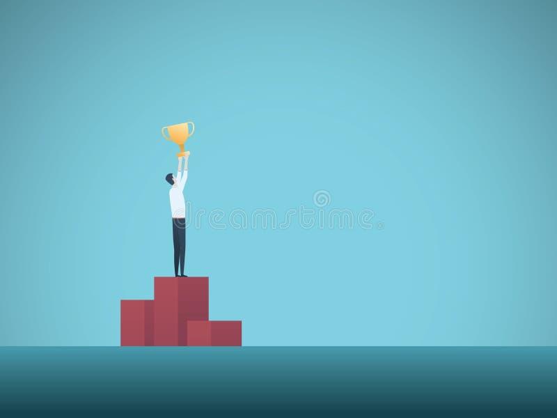 Begrepp för affärsvinnarevektor med podiumfullföljande för affärsman som överst rymmer den guld- trofén Symbol av framgång stock illustrationer