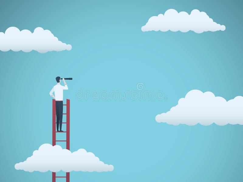Begrepp för affärsvisionvektor med affärsmannen som överst står av ovannämnda moln för stege Symbol av nya tillfällen royaltyfri illustrationer