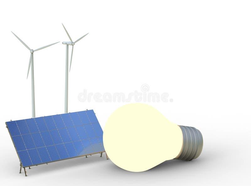 Begrepp för alternativ energi med vindturbiner, solpaneler och vektor illustrationer