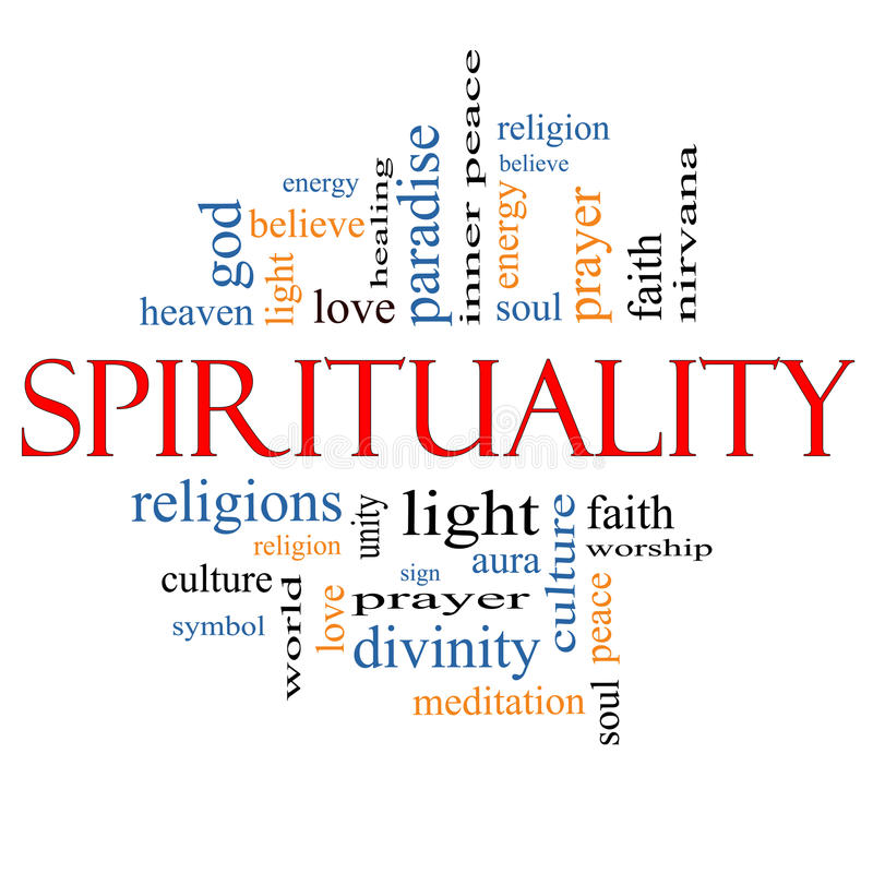 Begrepp för andlighetordmoln stock illustrationer