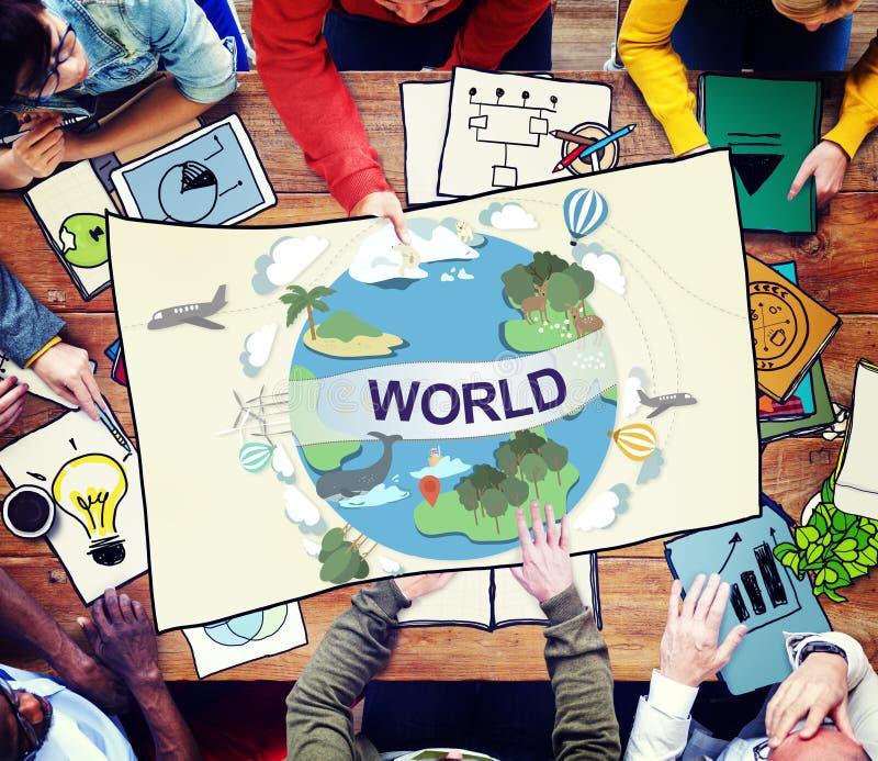 Begrepp för anslutning för gemenskap för världsomspännande samhälle för värld globalt arkivbilder