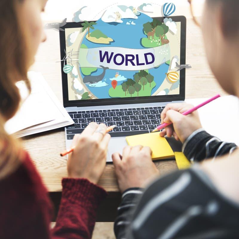 Begrepp för anslutning för gemenskap för världsomspännande samhälle för värld globalt arkivfoton