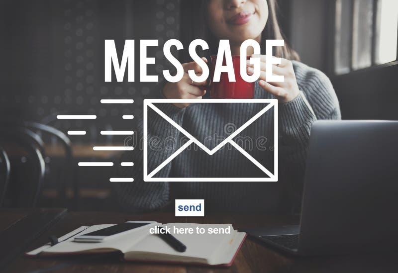 Begrepp för anslutning för information om meddelandekommunikationsrapport arkivfoton