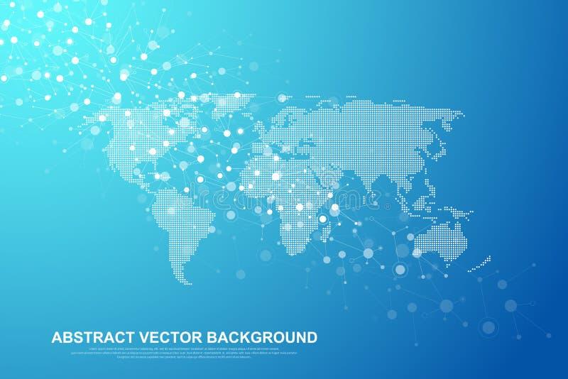 Begrepp för anslutning för globalt nätverk Stor datavisualization Social nätverkskommunikation i de globala datornäten royaltyfri illustrationer