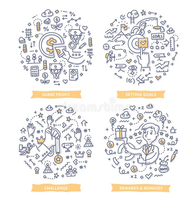 Begrepp för anställdmotivationklotter stock illustrationer