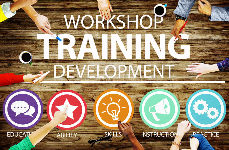 Begrepp för anvisning för utveckling för seminariumutbildningsundervisning royaltyfri fotografi