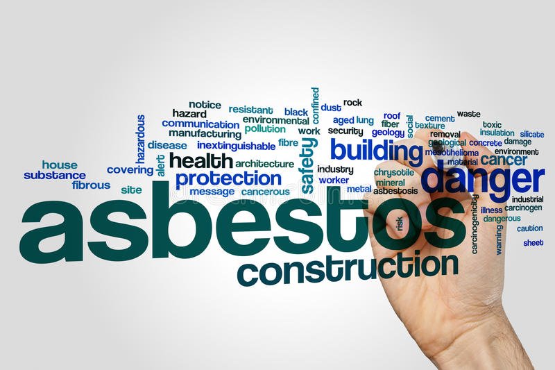 Begrepp för asbestordmoln på grå bakgrund arkivfoto