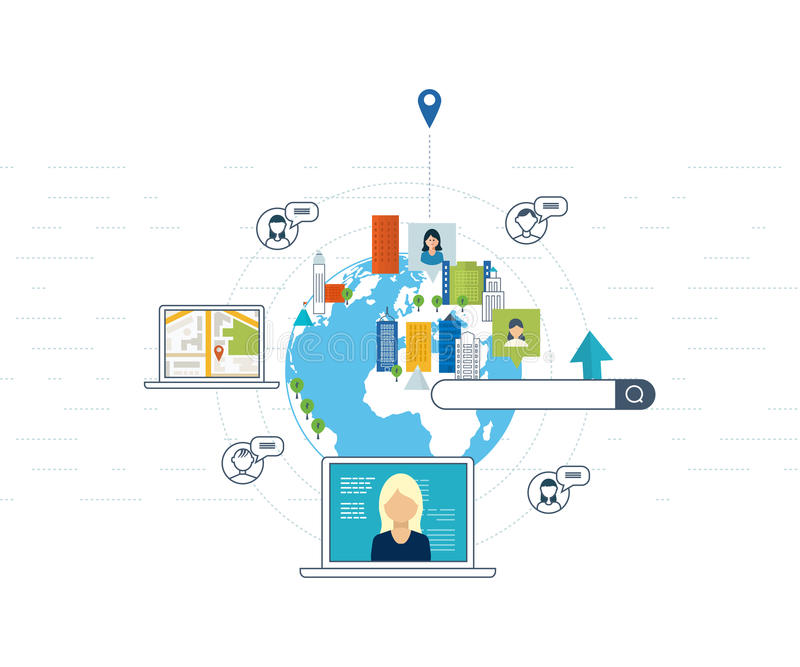Begrepp för att finna och möte av folk Socialt nätverk, teamworkbegrepp royaltyfri illustrationer
