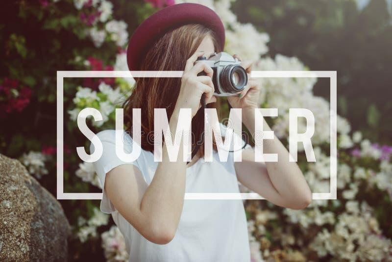 Begrepp för avbrott för avkoppling för ferie för sommarsemester roligt royaltyfria foton