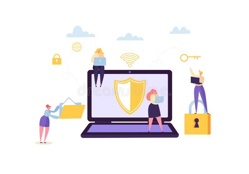 Begrepp för avskildhet för dataskydd Förtroliga och säkra internetteknologier med tecken som använder datorer och grejer stock illustrationer