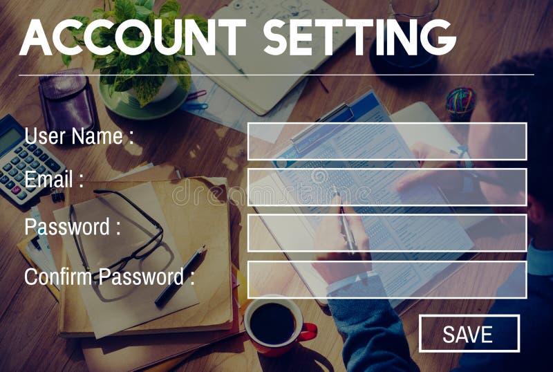 Begrepp för avskildhet för inloggning för lösenord för kontoinställningsregistrering fotografering för bildbyråer