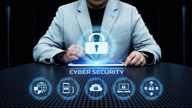 Begrepp för avskildhet för teknologi för affär för skydd för Cybersäkerhetsdata arkivfoto
