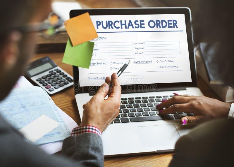 Begrepp för avtal för form för köpbeställning online- arkivfoto