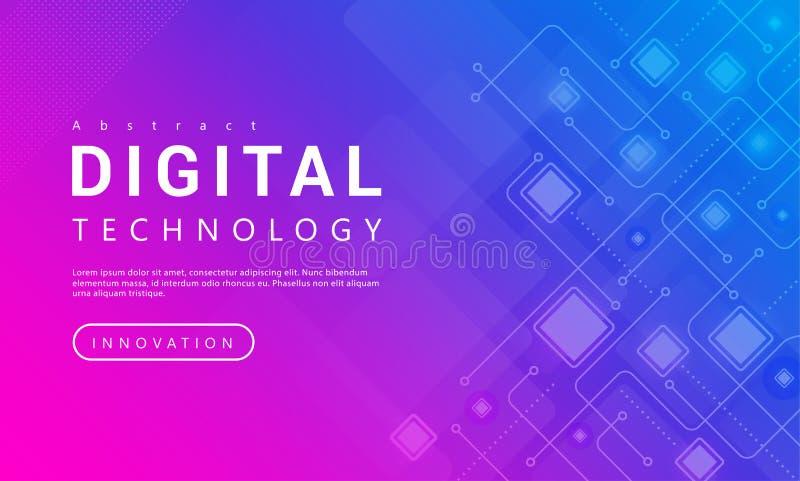 Begrepp för bakgrund för baner för Digital teknologi rosa blått med teknologilinjen ljuseffekter, abstrakt tech royaltyfri illustrationer