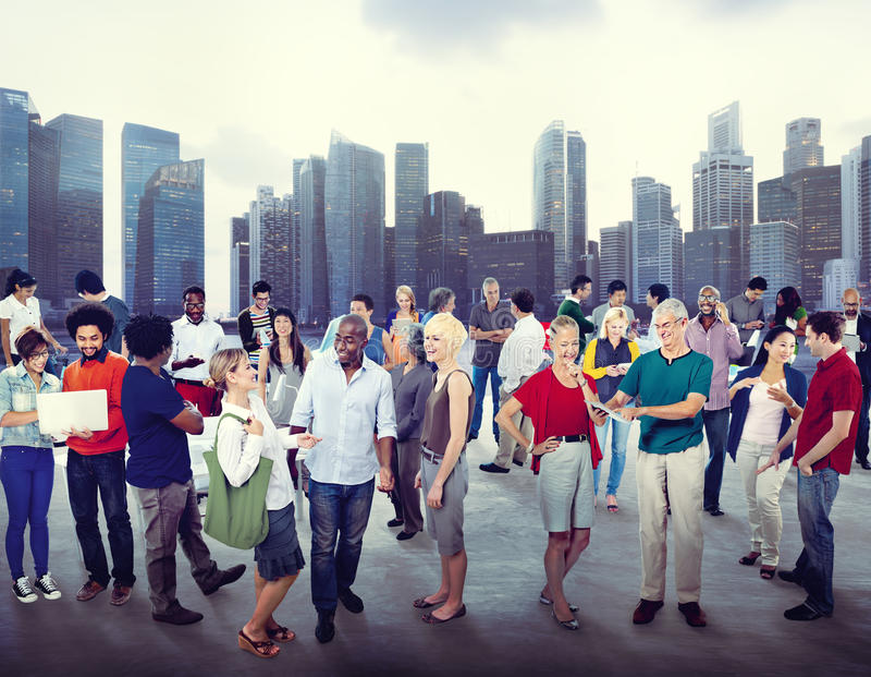 Begrepp för bakgrund för Cityscape för folk för mångfaldgemenskapaffär royaltyfri bild