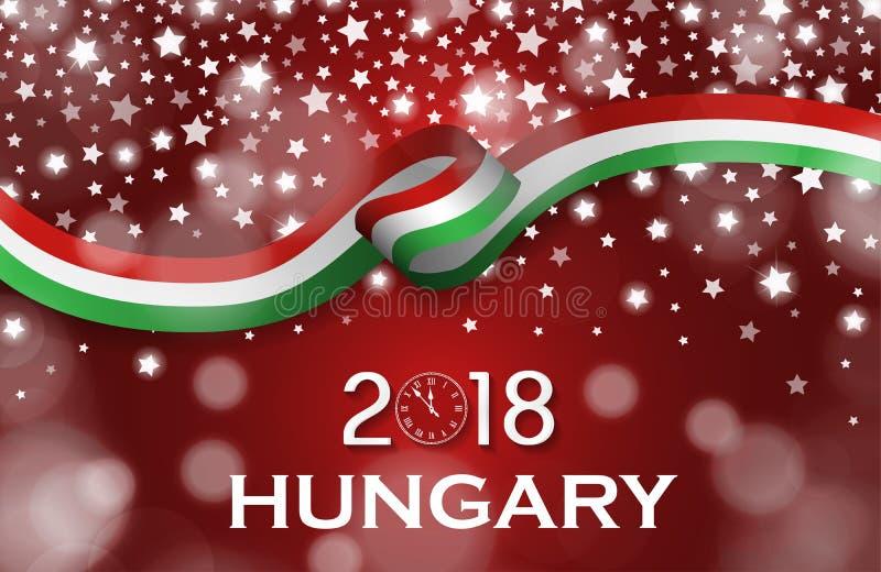 Begrepp för band för flagga för stil för kort för hälsning för medborgare Österrike för nytt år 2018 lyxigt royaltyfri illustrationer