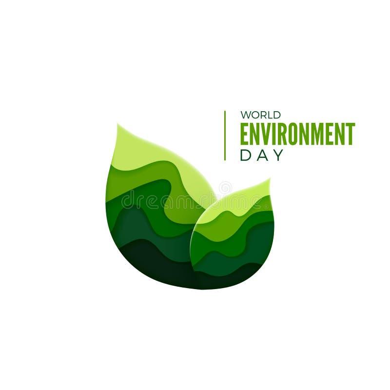 Begrepp för baner för dag för världsmiljö Ekologiaffischdesign Begrepp för blad för papperssnittgräsplan vektor stock illustrationer
