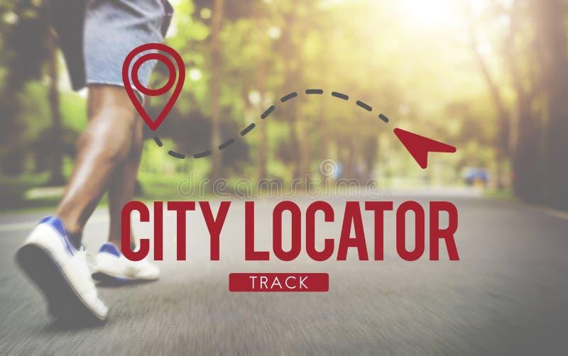 Begrepp för befolkning för metropolis för stadsLocatorriktning arkivfoto