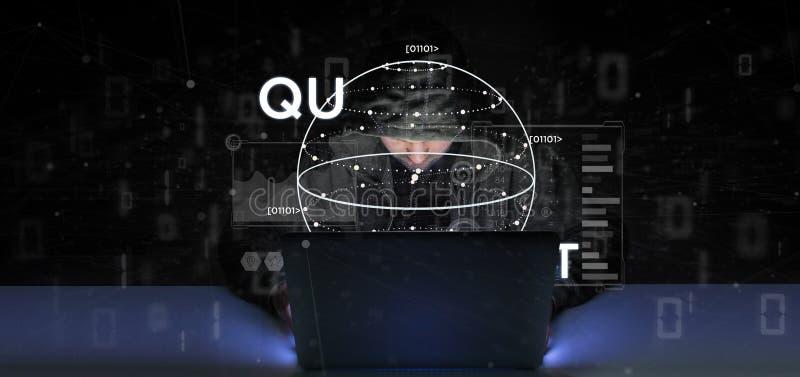 Begrepp för beräkning för kvant för en hackermaninnehav med tolkningen för qubitsymbol 3d royaltyfri fotografi