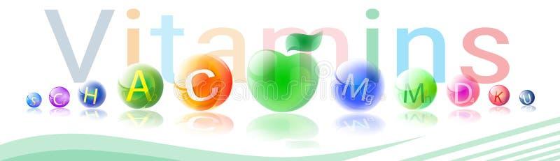 Begrepp för beståndsdel för kemi för näring för liv för närande baner för mineraler för vitaminer färgrikt sunt royaltyfri illustrationer
