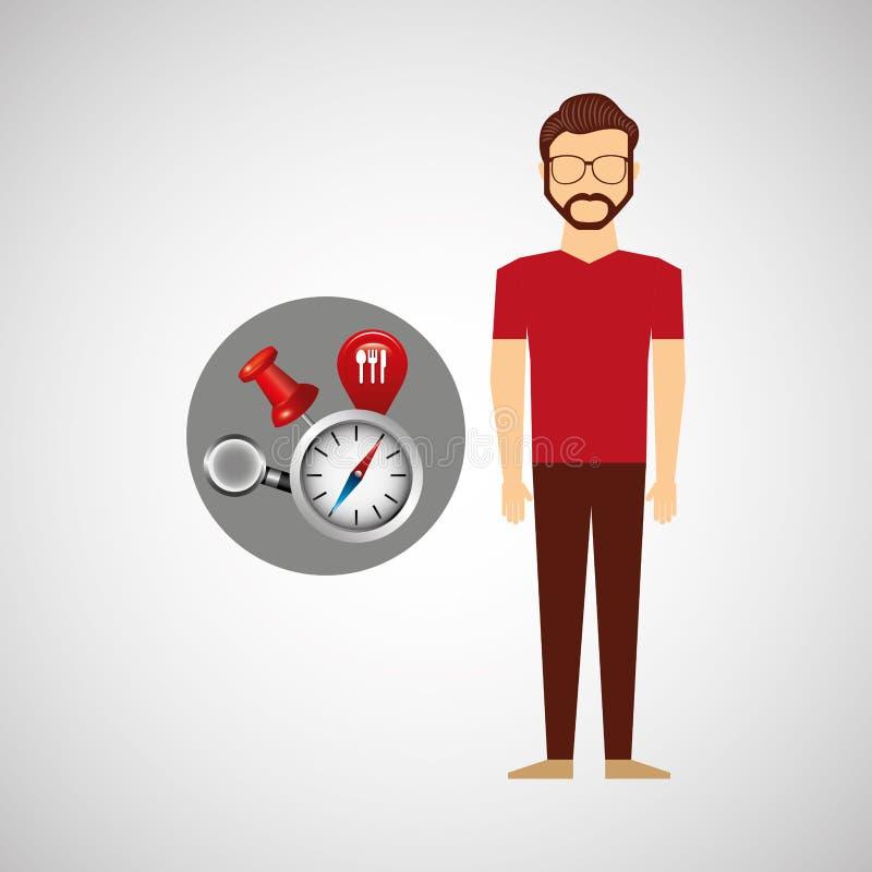Begrepp för beståndsdelar för navigering för Hipstermansamling stock illustrationer