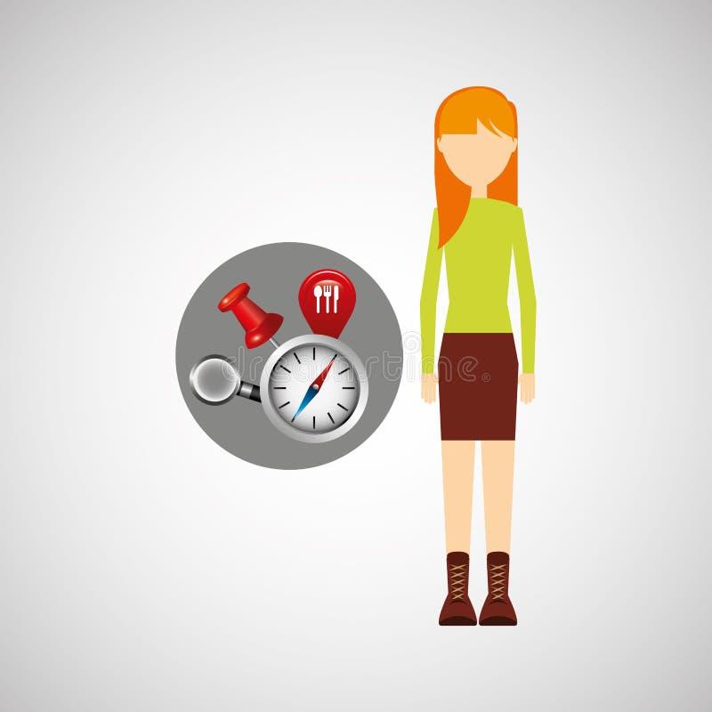 Begrepp för beståndsdelar för navigering för teckenflicka blont stock illustrationer