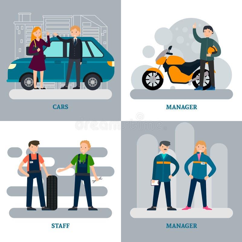 Begrepp för bilreparationsfyrkant stock illustrationer