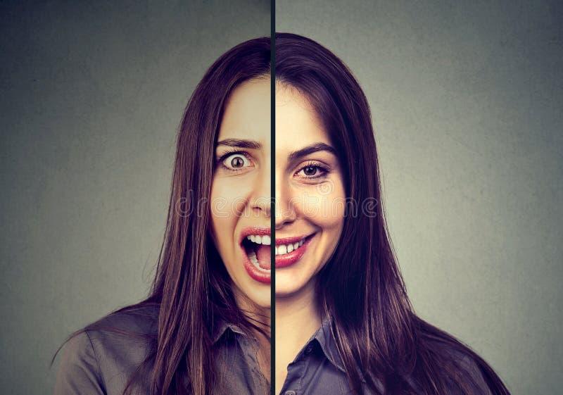 Begrepp för bipolär oordning och personlighetsklyvning Kvinna med dubbelt framsidauttryck arkivbilder