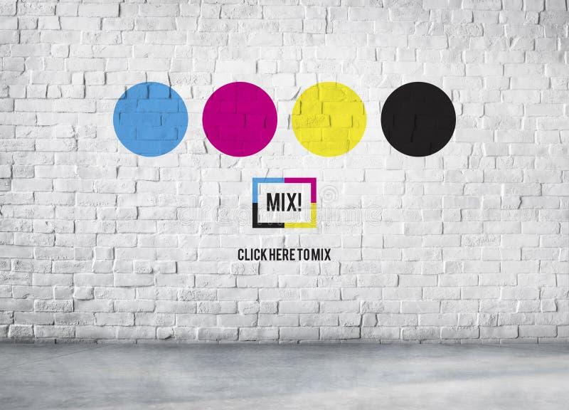 Begrepp för blandning CMYK för färgfärgpulvertryck mångfärgat royaltyfri foto