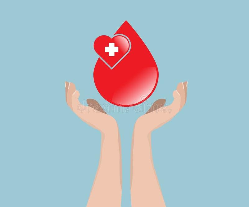 Begrepp för bloddonation, blod med handen vektor illustrationer