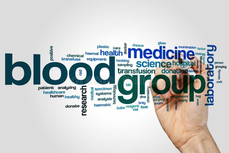 Begrepp för blodgruppordmoln på grå bakgrund royaltyfri foto