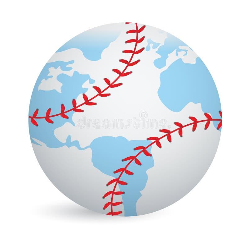 Begrepp för boll för världsjordklotbaseball vektor illustrationer