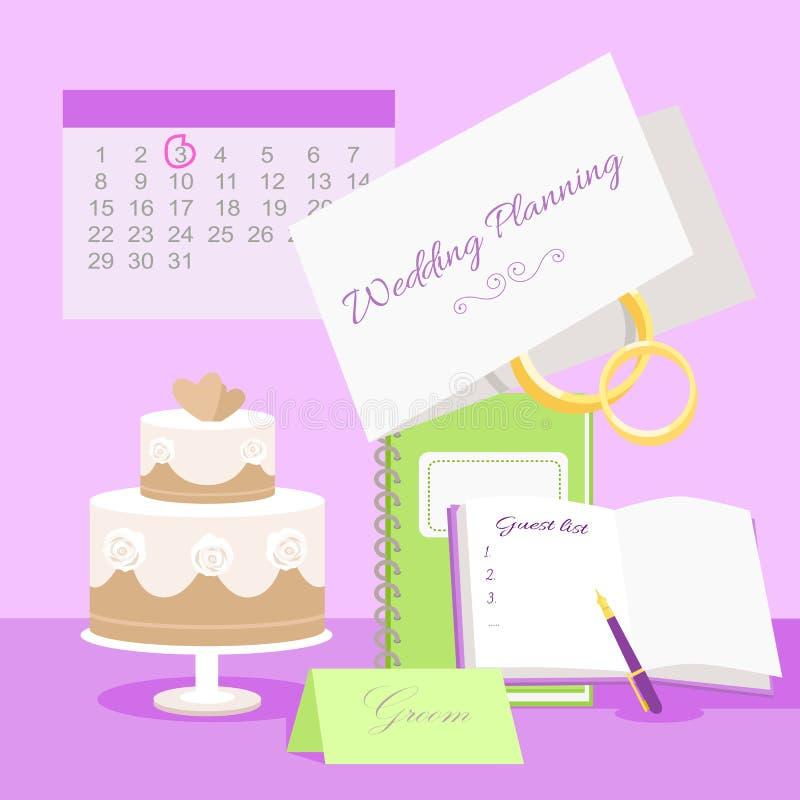 Begrepp för bröllopplanläggningsvektor i plan design vektor illustrationer
