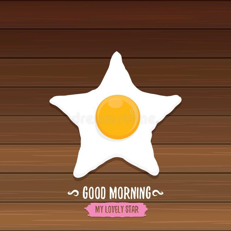 Begrepp för bra morgon frukoststekt kycklingägg med en orange äggula i mitten av stekt plant lägga för ägg på vektor illustrationer